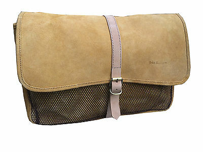 Nubuck Tan Leather Shooting Game Hunting Fishing Bag Detachable Washable Lining