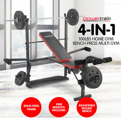 HOME GYM BENCH PRESS MULTISTATION WEIGHS FITNESS EQUIPMENT w BARBELL