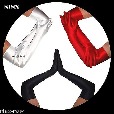 Stretch Satin Long Opera GLOVES Black, Red or White Costume Debutante Bridal
