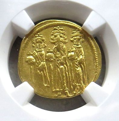 610-641 Ad Gold Byzantine Solidus Heraclius Ngc About Uncirculated 3 Emperors