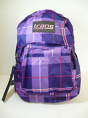 NWT - TRANS by JANSPORT Purple Plaid or Blk Skull Print Backpack ...