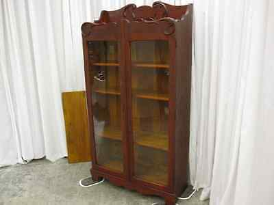 Antique Victorian Style Bookcase w Shelfs & Glass Doors