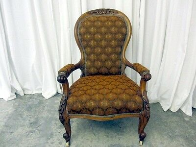 Antique Renaissance Revival Style Chair Walnut w New Upholstery Extra Nice Cond