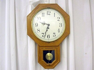 Antique School House Style Clock Hand Crafted Golden Oak Bubble Glass Dial Cover