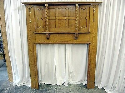 Large Antique Oak Fireplace Mantel With Mix Of Arts & Crafts Modern