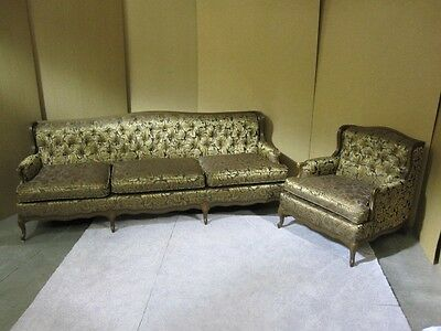 1960's French Style Sofa & Chair With New Upholstery