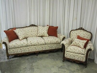 Antique Sofa & Chair Set Classic French Style Fresh Upholstery w Throw Pillows