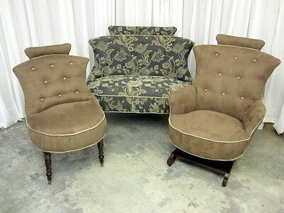 Antique Settee, Rocker & Chair Hollywood Regency Style New Upholstery XTRA NICE