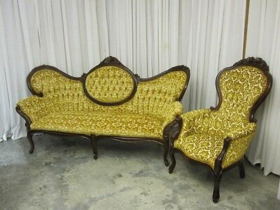 Vintage Victorian Style Cameo Sofa & Balloon Back Chair by Kimball Mint Cond