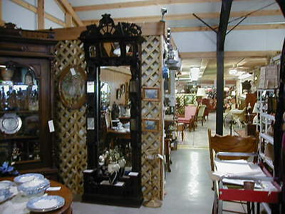 Antique 1800S Gentlemans Large Etagere Incredible Mirrors & Carvings Beautiful!