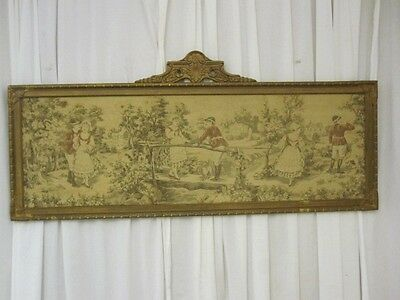 Antique English Wall Tapestry w Antique Wood & Gesso Frame 1800s Nice Condition
