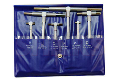 "Chromium Plate Telescoping Gage 5/16"" - 6"" 6 Pc Set Telecope T-Bore Hole Gauge"