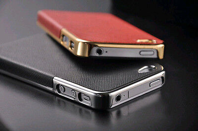 New  Luxury Leather Chrome Hard Back Case Cover For iPhone 4/ 4S 5 /5s 6/6
