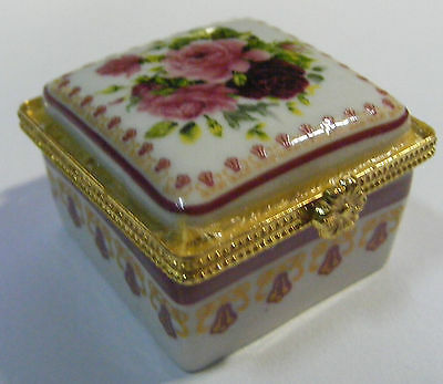 New Thai Benjarong Porcelain Square Box floral hand painted Gift