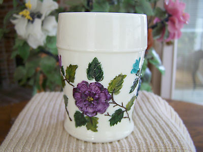 NORTHWOOD Hand Painted Floral Custard Glass Tumbler Beautiful