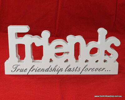 Wooden Block Words Freestanding Plaque with Affirmation -Friends
