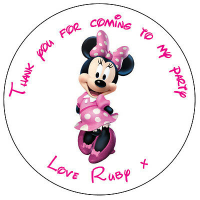 Personalised Minnie Mouse Labels 37mm Stickers Birthday Party Thank You -009