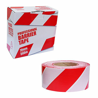 Barrier Tape Safety Hazard Warning, Non Adhesive, Red & White, 70mm x 500m Boxed