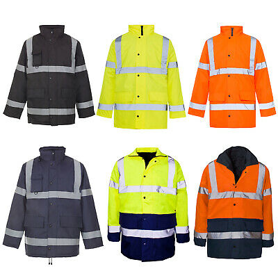 Hi Viz Vis Visibility Security Work Safety Parka Waterproof Padded Hood Jacket