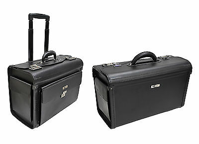 Faux Leather Work Laptop Trolley Wheeled Briefcase Hand Luggage Pilot Case Bag