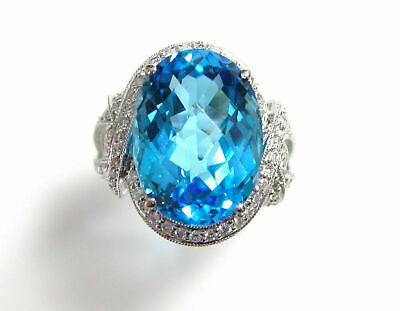 11.10 TCW Natural Oval Blue Topaz & Diamond Cocktail Ring 18k White Gold Size6.5