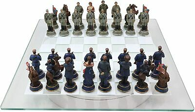 Civil War US North VS South Confederate Army Chess Piece and Glass Board Set