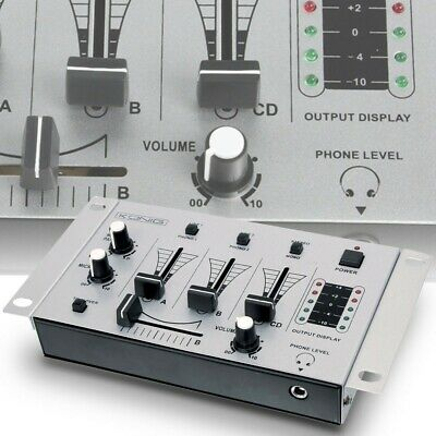 DJ-Mischpult Mixer 3 Kanäle PA Party Audio Musik Live Phono Crossfader Talkover