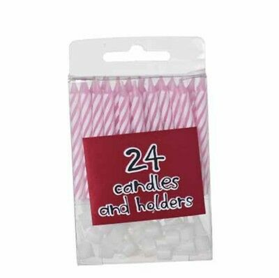 24 Pink Birthday Party Cake Candles & Candle Holders