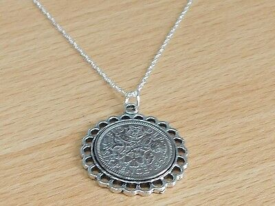 1931 87th Birthday / Anniversary sixpence coin Fine pendant plus 18inch SS chai