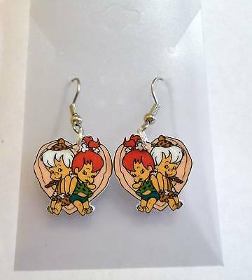 Bamm Bamm Pebbles Earrings Heart Flintstones Charms