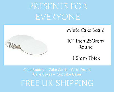 "10 x 10"" Round White Cake Board FREE SHIPPING"