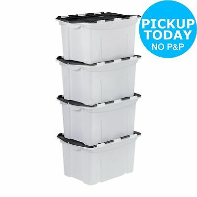 HOME 40 Litre Black Crocodile Lid Storage Boxes - Set of 4 -From Argos on ebay