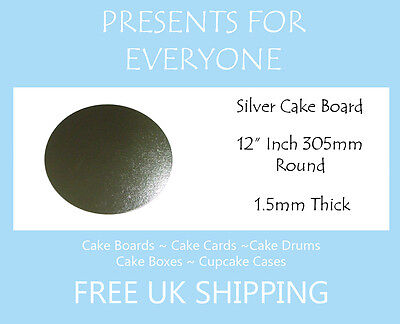 """10 x 12"""" Inch Round Silver Covered Cake Board FREE SHIPPING"""