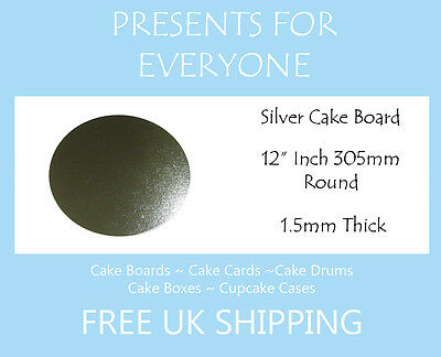 """50 x 12"""" Inch Round Silver Covered Cake Board FREE SHIPPING"""