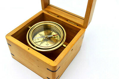 Gimbaled Boxed Compass with Hand Inlaid Compass