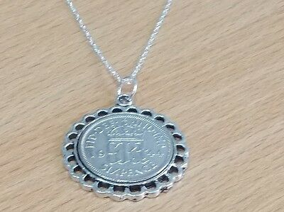 1945 73rd Birthday / Anniversary sixpence coin Fine pendant plus 18inch SS chain