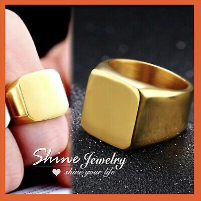 24K 2Tone GOLD GF TRILOGY SQUARE DIAMOND WOMEN ENGAGEMENT WEDDING SOLID RING SET