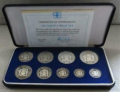 1983 Silver Jamaica Limited Edition Proof 9 Coin Collector Set Mintage 1,210