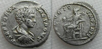 Ancient Roman Geta Silver Denarius coin - Securitas enthroned left holding Globe