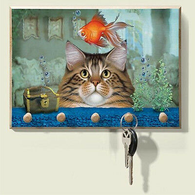 Wood Catatonic CAT watching gold fish  KITTEN Key hanger Keys
