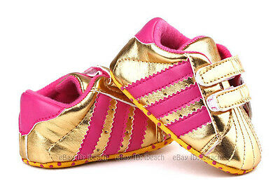 Soft Sole Gold Baby Girl Crib Shoes Toddler PreWalker Sneakers Size 0-18 Months