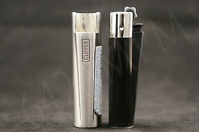 6 pcs New Refillable Clipper Mini Size Lighters With Metallic Removable Cover