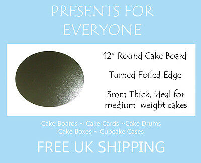 """25 x 12"""" Inch Round Silver Cake Board 3mm FREE SHIPPING"""