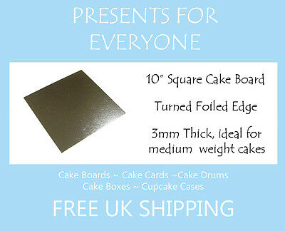 "10"" Inch Square Silver Cake Board 3mm FREE SHIPPING"