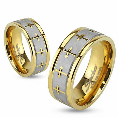 316L Stainless Steel Gold Brushed Fancy Cross Wedding Band Ring Size 5-13