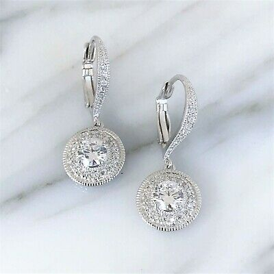Sterling Silver 925 Bridal Wedding Vintage Style CZ Leverback Earrings RRP $135