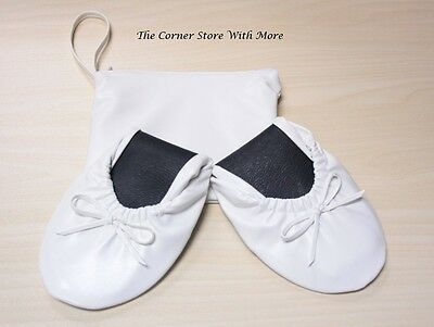 Women's Foldable White Ballet Flats Slippers Shoes Sizes 7 8 9 9.5 AU zip up bag