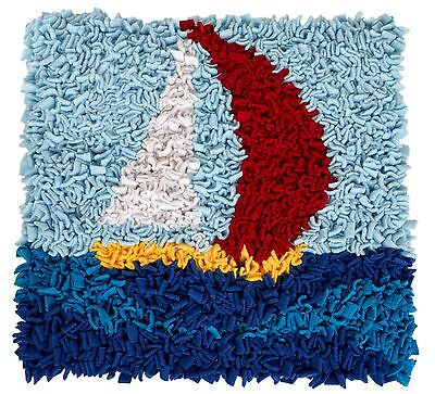 Proggy By Numbers Sail Boat Cushion Rag Rug Kit