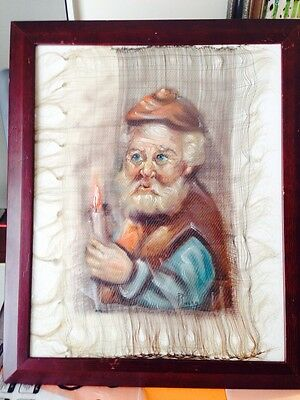 Vintage Oil On Thin Silk Fabric Canvas Portrait Of Old Man holds a candle