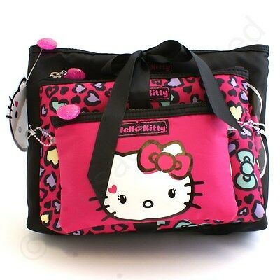 Hello Kitty Sweet Leopard 3 pc Make Up Cosmetics Bag Set  NEW  22532